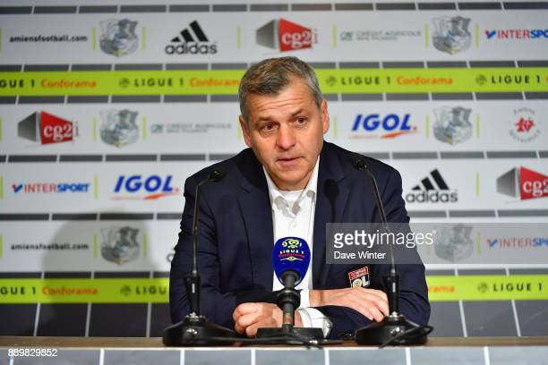 Lyon coach Bruno Genesio during the press conference following the Ligue 1 match between Amiens SC and Olympique Lyonnais at Stade de la Licorne on...