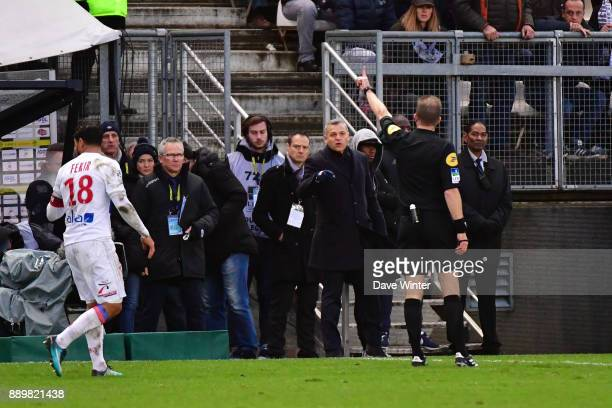 Lyon coach Bruno Genesiois sent off by referee Olivier Thual during the Ligue 1 match between Amiens SC and Olympique Lyonnais at Stade de la Licorne...
