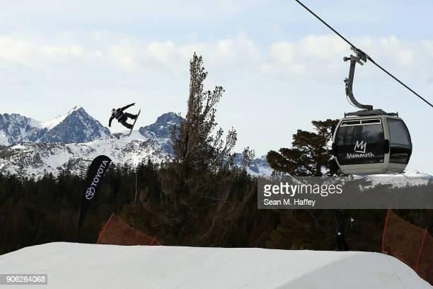Lyon Farrell competes in the qualifying round of Men's Snowboard Slopestyle during the Toyota US Grand Prix on on January 17 2018 in Mammoth...