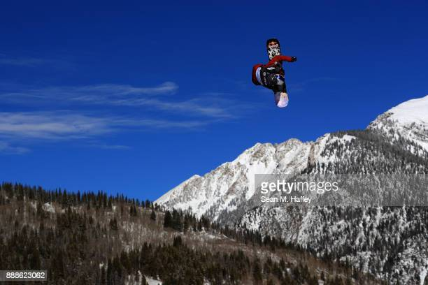 Lyon Farrell of the United States competes in qualifying of the FIS Snowboard World Cup 2018 Men's Big Air during the Toyota US Grand Prix on...