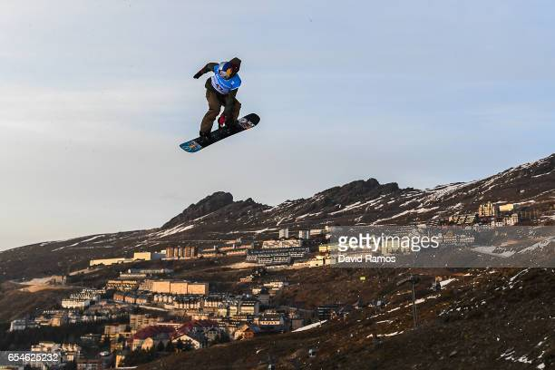 Lyon Farrell of the United States in action during a training session ahead of the Men's Snowboard Big Air final on day ten of FIS Freestyle Ski...