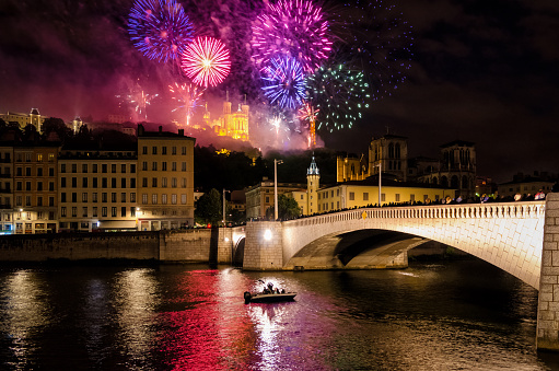 Lyon (France) fireworks for the National Holiday (14 July 2016) 577974622