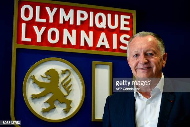 Lyon football club president JeanMichel Aulas poses on the occasion of the 30th anniversary of his presidency at the OL on June 29 2017 at the Parc...