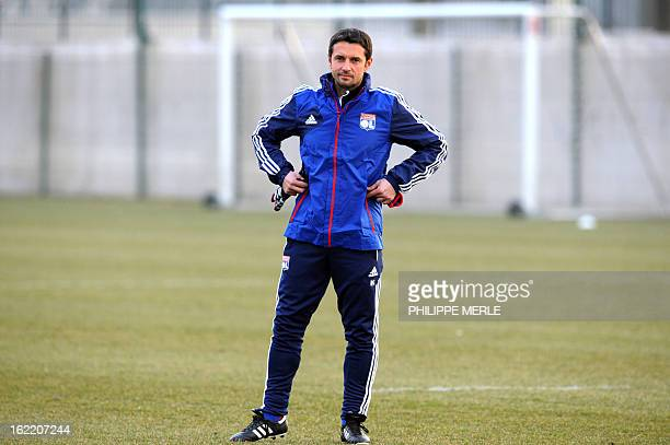Lyon football team's French coach Remi Garde takes part in a training session on February 20 2013 at the Gerland stadium in Lyon eastern France on...