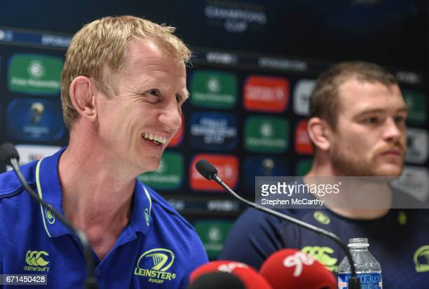 Lyon France 22 April 2017 Leinster head coach Leo Cullen left and Jack McGrath during a press conference at the Matmut Stadium de Gerland in Lyon...