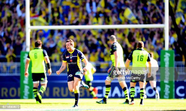 Lyon France 23 April 2017 Camille Lopez of ASM Clermont Auvergne celebrates after kicking a dropgoal during the European Rugby Champions Cup...