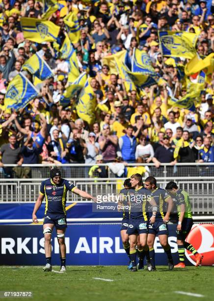 Lyon France 23 April 2017 David Strettle and Arthur Iturria of ASM Clermont Auvergne celebrate a try during the European Rugby Champions Cup...