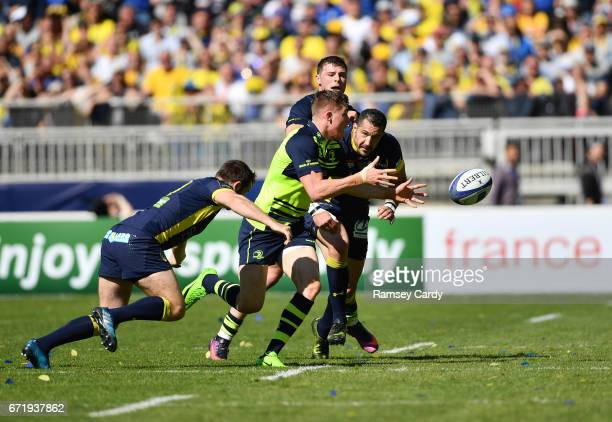 Lyon France 23 April 2017 Garry Ringrose of Leinster is tackled by Camille Lopez of ASM Clermont Auvergne during the European Rugby Champions Cup...
