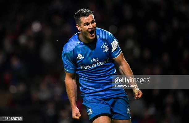 Lyon , France - 23 November 2019; Jonathan Sexton of Leinster celebrates after scoring a try which was subsequently disallowed during the Heineken...