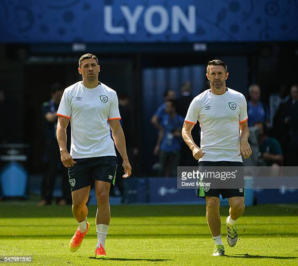 Lyon France 25 June 2016 Jonathan Walters left and Robbie Keane of Republic of Ireland during squad training at Stade de Lyon in Lyon France