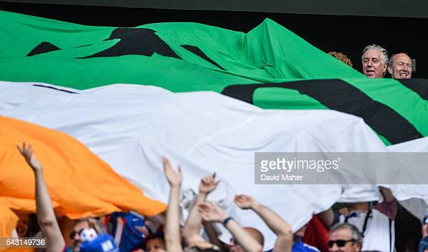 Lyon France 26 June 2016 FAI Chief executive John Delaney with Shane Ross TD during the UEFA Euro 2016 Round of 16 match between France and Republic...