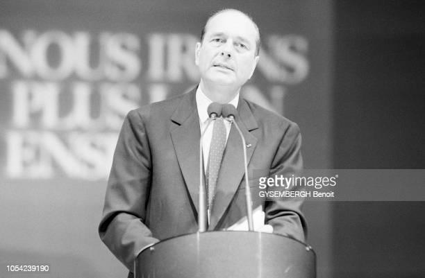 Lyon France avril 1988 Election présidentielle des 24 avril et 8 mai 1988 Campagne électorale de Jacques CHIRAC candidat du RPR Ici se tenant debout...
