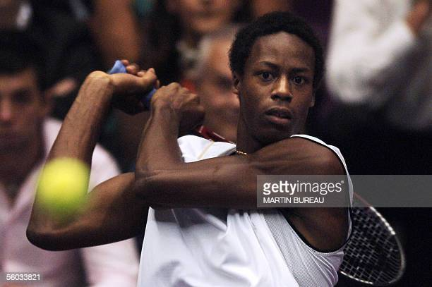 French tennis player Gael Monfils hits a return to US opponent Andy Roddick during the final match of the Lyon tennis Grand Prix 30 October 2005 in...