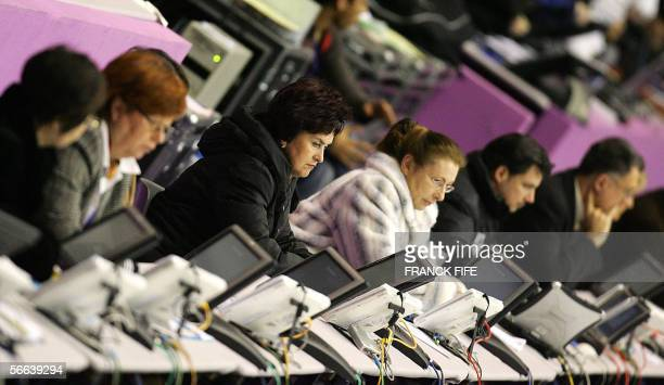 Judges watch the Men Free skating program during the European Figure Skating Championships 21 January 2006 in Lyon Following the 2002 Winter Olympics...