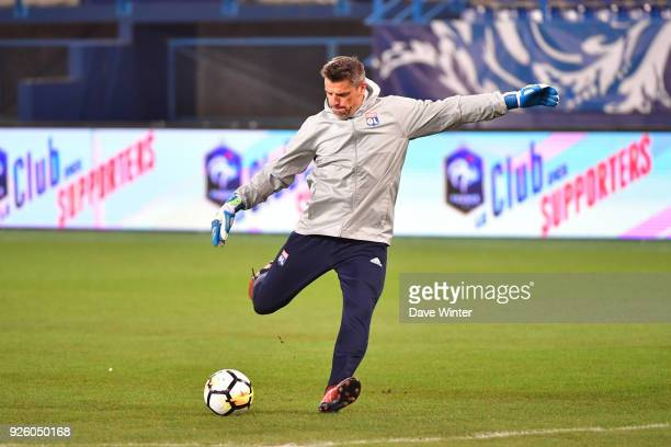 Lyon goalkeeping coach Gregory Coupet during the French Cup match between Caen and Lyon at Stade Michel D'Ornano on March 1 2018 in Caen France