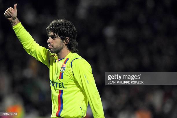Lyon midfielder Juninho who scored the first goal jubilates during the LyonBucharest champion's league football match at the Gerland Stadium in Lyon...