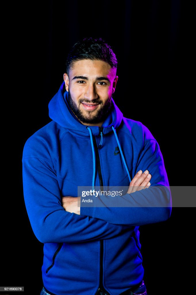 Lyon (south-eastern France). . Nabil Fekir, Algerian-French 21-year old young footballer playing for the Olympique Lyonnais football club. The young promising striker from Vaulx-en-Velin decided to play for the France national football team, with head coach Didier Deschamps, over Algeria. Studio shot.