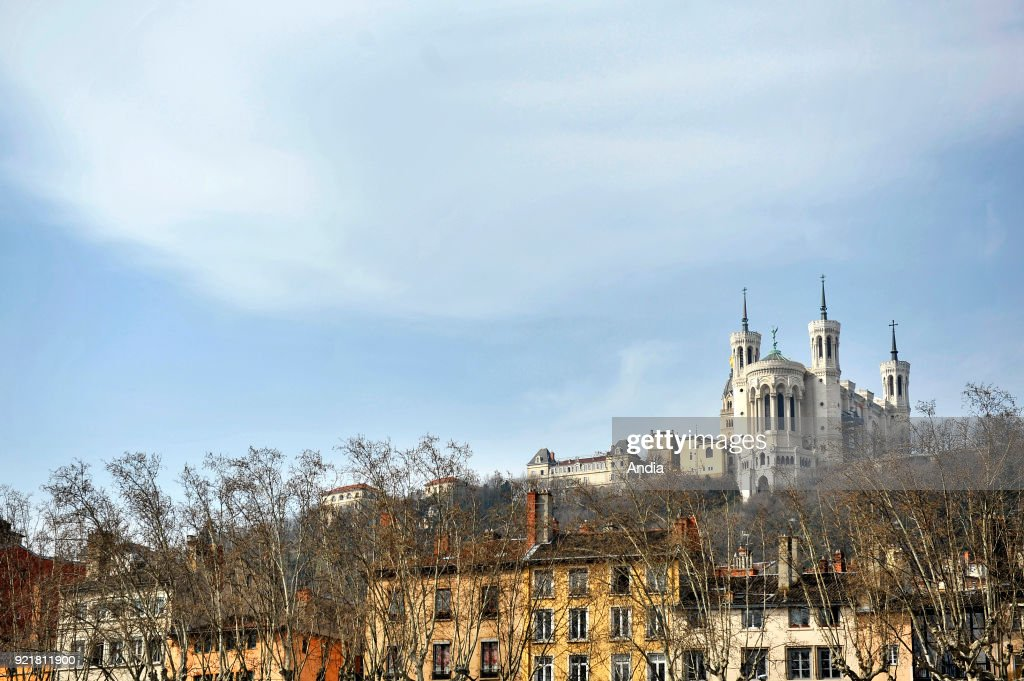 Notre-Dame de Fourviere Basilica (registered as a French Historic Landmark 'Monument Historique') viewed from the quays alongside the Saone River.