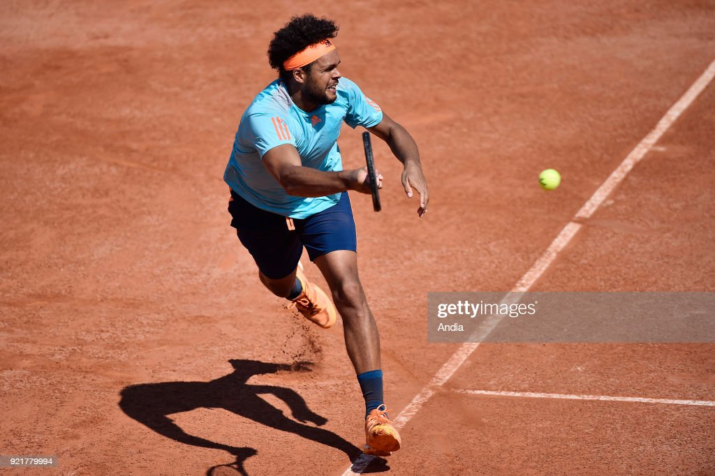 Lyon (south-eastern France), on : professional tennis player Jo-Wildfried Tsonga won the semi-final match of the ATP World Tour 250 tournament in Lyon against Georgian player Nikoloz Basilashvili, clay-court tournament in the urban park 'Parc de la Tete d'Or' (Park of the Golden Head).