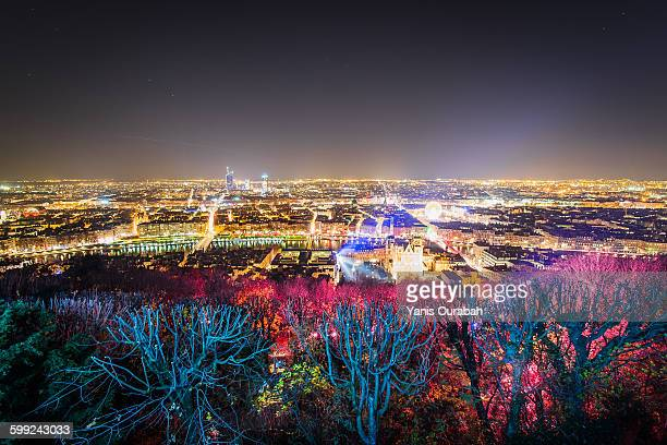 Lyon panorama and lights celebration in december