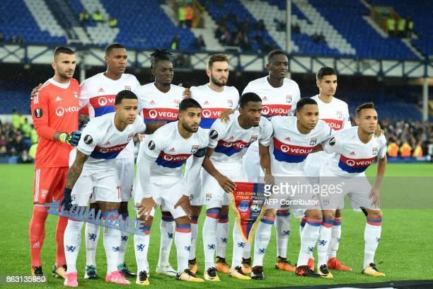 Lyon players Lyon's Portuguese goalkeeper Anthony Lopes Lyon's Brazilian defender Marcelo Lyon's Burkinabe striker Bertrand Traore Lyon's French...