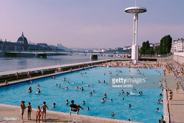 Lyon RhonesAlpes France Pool on the verge of Rhone river