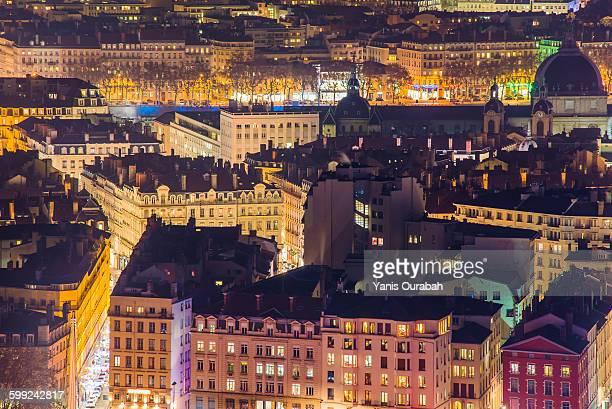 Lyon rooftops skyline, Rhone and Hotel Dieu night