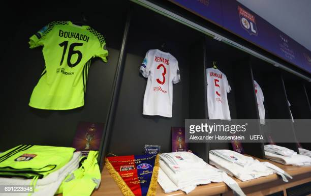 Lyon shirts hang in the dressing room prior to the UEFA Women's Champions League Final between Lyon and Paris Saint Germain at Cardiff City Stadium...
