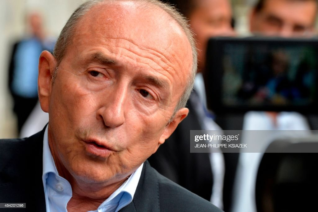 Lyon socialist mayor Gerard Collomb speaks to the press during a meeting of the 'Pôle des réformateurs' (Pole of reformers) on August 26, 2014 in Lyon.