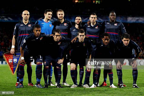 Lyon team group during the Lyon v Bordeaux UEFA Champions League quarterfinal 1st leg match at the Stade Gerland on March 30 2010 in Lyon France