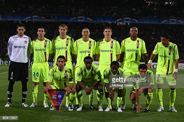Lyon team line up during the UEFA Champions League Group F match between Lyon and Fiorentina at the Stade de Gerland on September 17 2008 in Lyon...