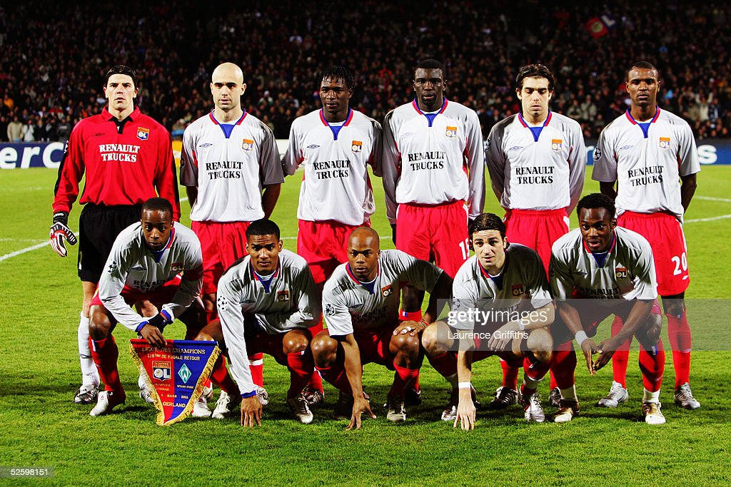 lyon team line up prior to the uefa champions league first knock out second