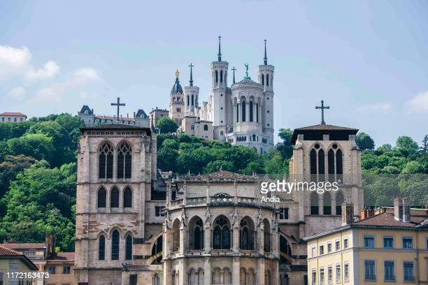 the Basilica of NotreDame de Fourviere dedicated to the Virgin Mary with the Cathedral of St John the Baptist in the foreground in the Old City of...