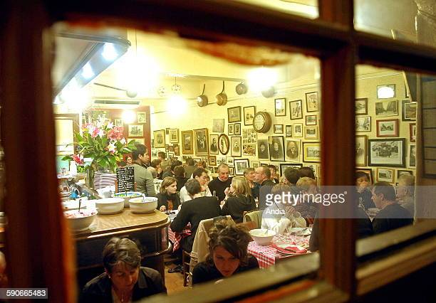 Lyon Traditional restaurant gastronomy 'Chez Paul' Bouchon lyonnais clients at tables