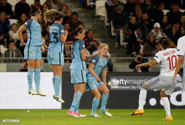 Lyon v Manchester City UEFA Women's Champions League Semi Final Second Leg Parc Olympique Lyonnais Manchester City's defensive wall on a Lyon's...