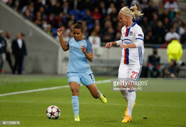 Lyon v Manchester City UEFA Women's Champions League Semi Final Second Leg Parc Olympique Lyonnais Lyon's Caroline Seger and Manchester City's Nikita...