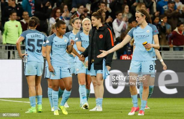Lyon v Manchester City UEFA Women's Champions League Semi Final Second Leg Parc Olympique Lyonnais Manchester City players after the final whistle