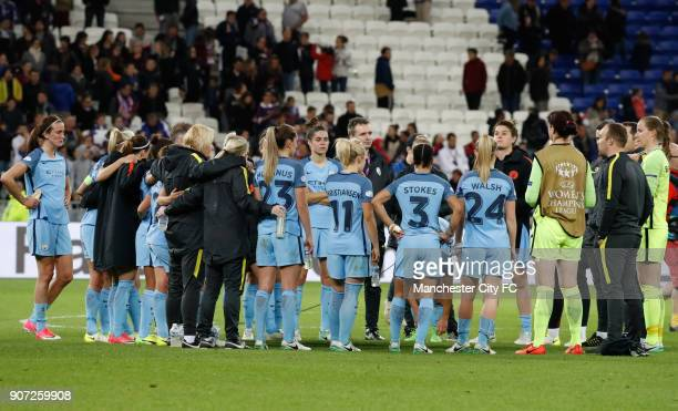 Lyon v Manchester City UEFA Women's Champions League Semi Final Second Leg Parc Olympique Lyonnais Manchester City players gather for a team talk...