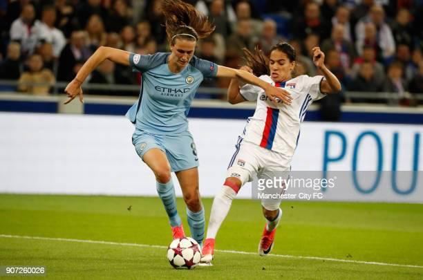 Lyon v Manchester City UEFA Women's Champions League Semi Final Second Leg Parc Olympique Lyonnais Lyon's Amel Majri and Manchester City's Jill Scott...