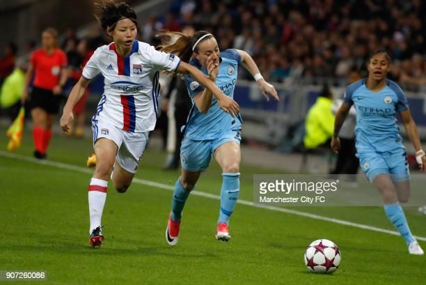 Lyon v Manchester City UEFA Women's Champions League Semi Final Second Leg Parc Olympique Lyonnais Lyon's Saki Kumagai and Manchester City's Kosovare...