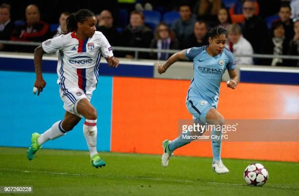 Lyon v Manchester City UEFA Women's Champions League Semi Final Second Leg Parc Olympique Lyonnais Lyon's Elodie Thomis and Manchester City's Demi...