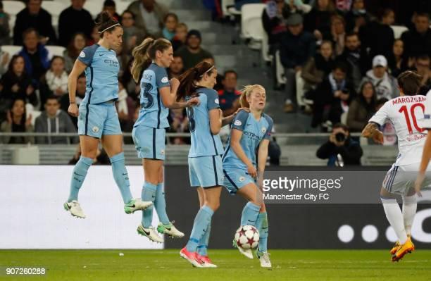 Lyon v Manchester City UEFA Women's Champions League Semi Final Second Leg Parc Olympique Lyonnais Manchester City's defensive wall on a Lyon's...