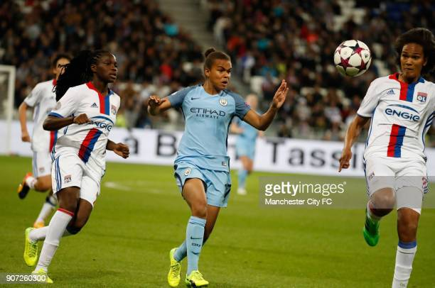 Lyon v Manchester City UEFA Women's Champions League Semi Final Second Leg Parc Olympique Lyonnais Lyon's Wendie Renard and Manchester City's Nikita...
