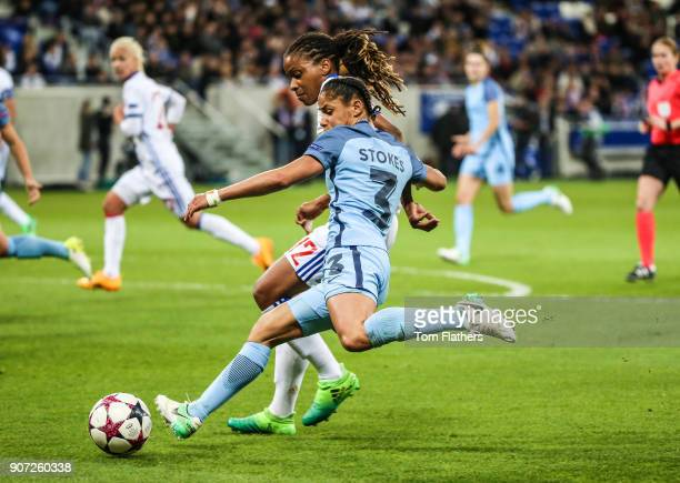 Lyon v Manchester City UEFA Women's Champions League Semi Final Second Leg Parc Olympique Lyonnais Manchester City's Demi Stokes in action against...