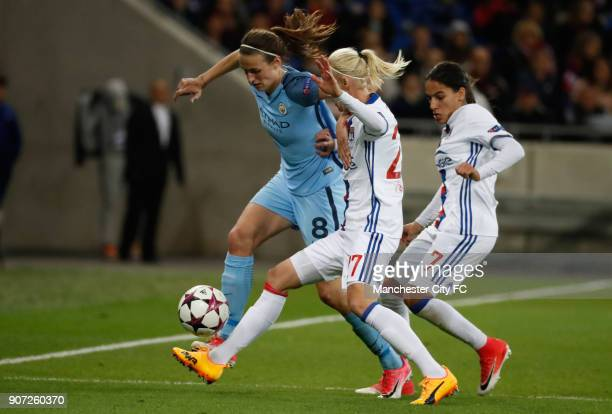 Lyon v Manchester City UEFA Women's Champions League Semi Final Second Leg Parc Olympique Lyonnais Lyon's Caroline Seger and Amel Majri battling...