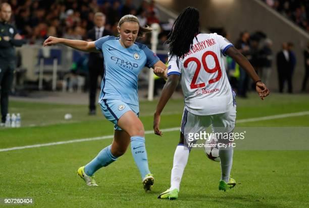 Lyon v Manchester City UEFA Women's Champions League Semi Final Second Leg Parc Olympique Lyonnais Lyon's Griedge M'Bock Bathy and Manchester City's...