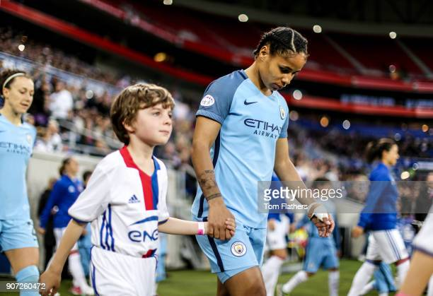 Lyon v Manchester City UEFA Women's Champions League Semi Final Second Leg Parc Olympique Lyonnais Manchester City's Demi Stokes walks out to play...
