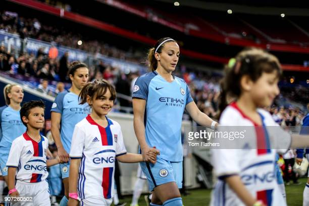 Lyon v Manchester City UEFA Women's Champions League Semi Final Second Leg Parc Olympique Lyonnais Manchester City's Kosovare Asllani walks out to...