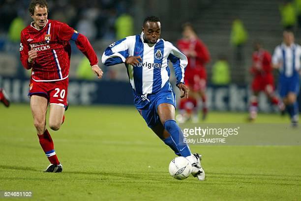 Lyon vs FC Porto Champions League quarter final second leg Patrick Muller and Benni McCarthy Ligue des Champions de Football Quart de finale match...