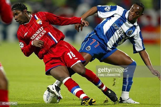 Lyon vs FC Porto Champions League quarter final second leg Peggy Luyindula and Benni McCarthy Ligue des Champions de Football Quart de finale match...